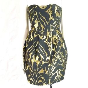 H&M Brocade Bubble Sleeveless Fit & Flare Dress
